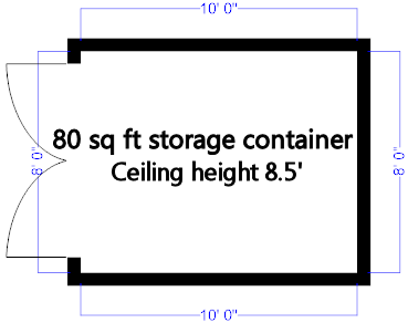 80sq ft storage container dimensions
